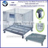 High quality Steel Wire Mesh Pallet Cage for Warehouse Storage with Caps and Wheels