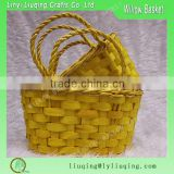 2016 new design set 2 brilliant yellow wood chip baskets with handles for flowers
