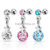 "16G 1/4"" 316L Stainless Steel Star CZ Ear Helix Tragus Cartilage Straight Barbell Earring Piercing Jewelry"
