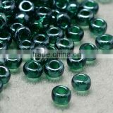 11/0 Glass Seed Beads, Transparent Lustered, DarkGreen Micro Beads(SEED-Q011-F523)