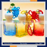 new products various colourful deltoid shape scented glass car perfume bottles with beautiful Chinese knot