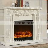 Ivory White antique decor flame electric fireplace and mantel
