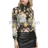 wholesale clothing korean chiffon sexy black flower print blouse design 2016