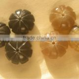 Melon shape. Buffalo horn beads, horn buttons, horn components for jewelry
