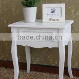 hand painted white European Country solid wood and MDF tea table,bedside table,corner table