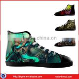 Men's Skull High Top Casual Shoes,Black Lace-up Canvas Sneakers