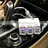 High quality Triple Car Cigar Lighter Socket Splitter with USB Port/3 Way Socket Cigarette Lighter adaptor with USB Port
