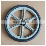 16x1.75 inch semi pneumatic rubber wheel with diamond tread and gray plastic rim for mowers or material handling equipment