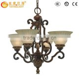 Living Room or Hotel glass chandelier, high quality antique wrought iron chandelier