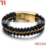 Mens Black Braided Leather Bracelet Interwoven with Gold Curb Chain in Stainless Steel