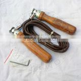 Leather Cord Swivel Jumping Rope with Wooden Handles