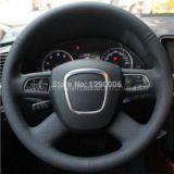 Black Artificial Leather Steering Wheel Cover For Audi Old A4 B7 B8 A6 C6 2004-2011 Q5 2008-2012 Q7 2005-2011
