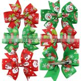 Christmass Printing Baby Girl Hair Bows Clips Boutique Grosgrain Ribbon Hairpins Kids Girl Hair Accessories