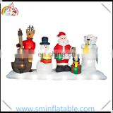 Christmas inflatable santa band inflatable musical lighting show with snowman reindeer penguin bear for yard decoration