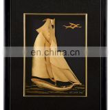 24k gold leaf fame antique round wall mirror with sailing picture made of gold foil banknote