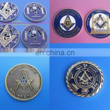 customized freemasonary metal stamping coin, wholesale masonic challenge coin