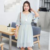 Add the number of women's clothes to wear the new striped chiffon dress.