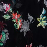 african black tulle polyester embroidery for lace fabric material