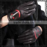Women leather gloves work, black sheep skin with 70% wool, gloves importers