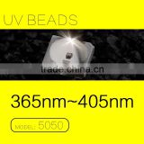2015 Hot Sale 0.5Watts 5050 SMD UV LED 365nm chip Ultraviolet Light Source FACTORY beads