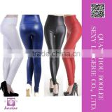 2015 Latest design New Fashion Womens Shiny Wet Faux Leather High-waist Leggings Pants