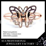 2015 new design rose gold butterfly bangle silver jewelry saudi gold jewelry bracelet animal fashion bangle