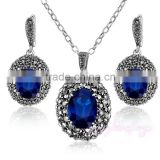 Blue crystal african gold plating women young girl earring jewelry set