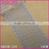 Water Soluble lace19cm Silver Gray Wide Bag Accessories Lace,Nylon Embroidery Kitted Laces Fabric