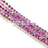 Top Quality Amethyst Crystal rhinestone Cup chain, Link Chain Rhinestone, Strass Cup Chain, rhinestone Chain trimming for Dress