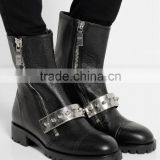 Womens fashion leather boots side zipper front metal straps retail ladies china boots black leather bootie
