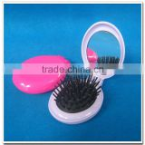 Oval shape mini folding hair brush with mirror                                                                         Quality Choice