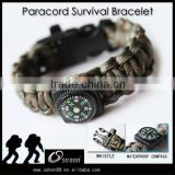 braided nylon cord survival bracelet with compass 2016 trending products