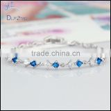 brass link chain blue square cz women bracelets