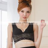 Women's Mesh Lace Trim Underwired Wide Strap Push Up Bra Chest Back Support