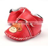 A-bomb Hot Selling Lichee Pattern Leather Rubber Sole Cartoon Baby Girls Outdoor Prewalker Shoes/Baby Girls Sandles