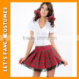 PGWC2801 Crop top pleated plaid skirt erotic school girl sexy costumes for women lingerie set cosplay