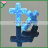 blue fire opal synthetic opal cross with drilled hole