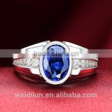 fashion jewelry blue gemstone ring 925 sterling silver ring big finger rings