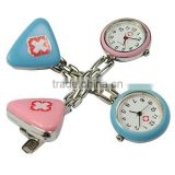 Unisex Triangle Clip-on Brooch Pendant Hanging Quartz Nurse Doctor Pocket Watch