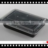 Retangular PP Food Container Black Plastic Food Storage 1000ML High Quality