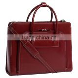 women Leather Laptop Briefcase with Removable Sleeve