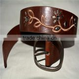 PU leather embroidered design witt stud leather belt
