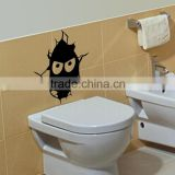 2015 new arrived printing black face toilet bathroom kids room wall sticker lowest wholesale price decorative wall stickers 108