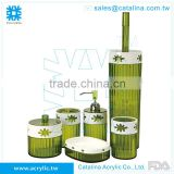 Green Bathroom Product,Toilet Brush Tumbler Lotion Dispenser Cotton Jar Soap Dish Toothbrush Holder Acrylic Houseware Decoration