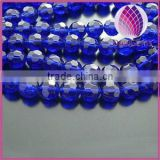 Bead,glass,cobalt blue ,10mm half-hand faceted round