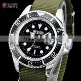 SHARK ARMY Mens Sport Day Analog Stainless Steel Back Nylon Strap Army Military Quartz Watch