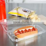 Duralock Clear Hinged Plastic Small Oblong Container, Clamshell Clear Take Out Food Box For Hotdog