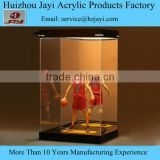 "Doll figurine acrylic collectible display case 7 1/4"" x 11 3/4"" x 7"" tall inside dimensions with solid black or all clear base"