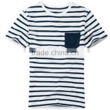 Customizable Urban Fashion Ladies Polyester Spandex Blue White Striped Pocket T shirts