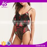 Shandao Summer New Arrivals Women Casual Embroidered Spaghetti Strap Sexy Black Lace Bodysuit